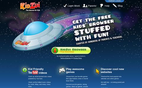 Screenshot of Home Page kidzui.com - KidZui - The Internet for Kids - captured July 17, 2014