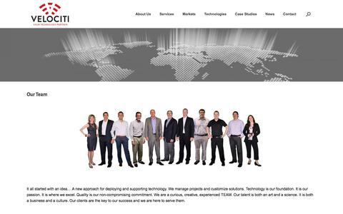 Screenshot of Team Page velociti.com - Our Team – Velociti – Your Partner in Technology - captured Jan. 6, 2018