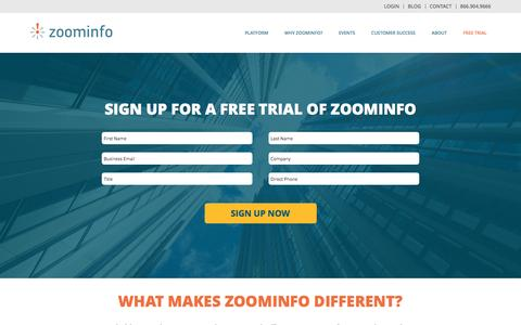 Screenshot of Products Page zoominfo.com - ZoomInfo Free Trial - captured April 6, 2017