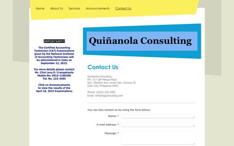 Screenshot of Contact Page ngqconsulting.com - Quinanola Consulting - Contact Us - captured Feb. 2, 2016