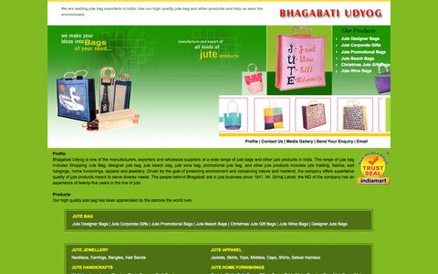 Screenshot of Products Page jutebagexporters.com - Jute Bag Manufacturers - Jute Bag Exporters, Jute Shopping Bags | India - captured Oct. 27, 2014