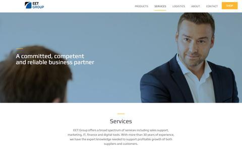 Screenshot of Services Page eetgroup.com - Services - EET Group - captured Nov. 7, 2018
