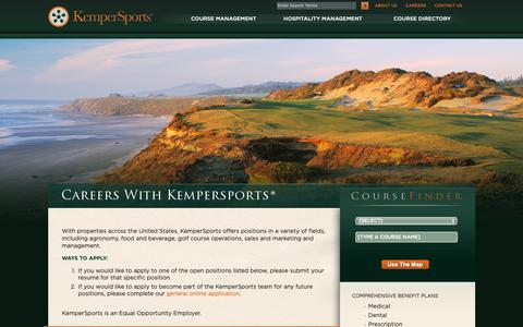 Screenshot of Jobs Page kempersports.com - Golf Course Management Careers | Hospitality Management Careers | KemperSports - captured Sept. 28, 2018