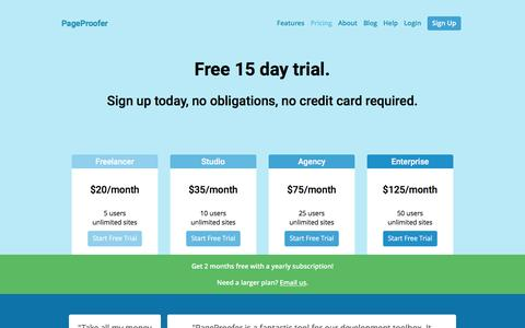 Screenshot of Pricing Page pageproofer.com - Pageproofer - captured Oct. 9, 2016