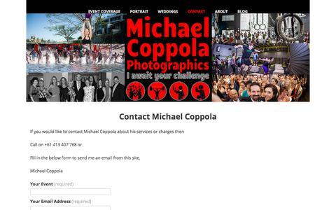 Screenshot of Contact Page photomcp.com - Contact Michael Coppola - captured Feb. 17, 2018