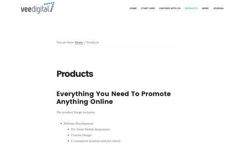 Screenshot of Products Page veedigital.com - Products - Vee Digital - captured Aug. 12, 2016