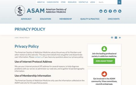Screenshot of Privacy Page asam.org - Privacy Policy - captured Sept. 20, 2016