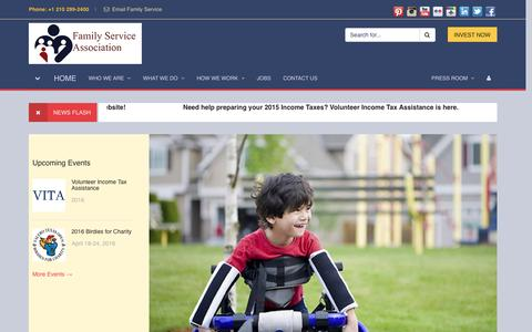 Screenshot of Home Page family-service.org - FAMILY SERVICE ASSOCIATION OF SAN ANTONIO, TEXAS - captured Feb. 9, 2016
