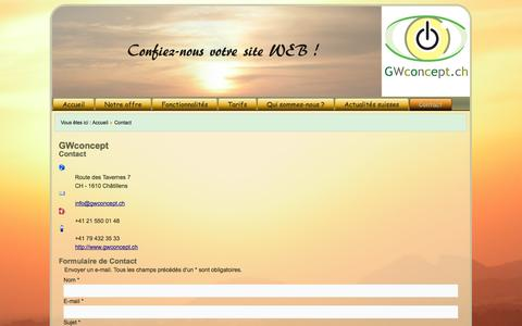 Screenshot of Contact Page gwconcept.ch - Contact - captured Oct. 22, 2014