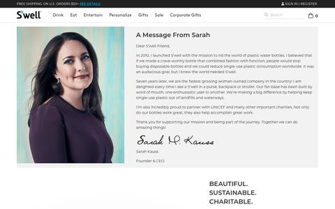 Screenshot of About Page swellbottle.com - About S'well and founder Sarah Kauss | S'well Bottle - captured Nov. 17, 2019