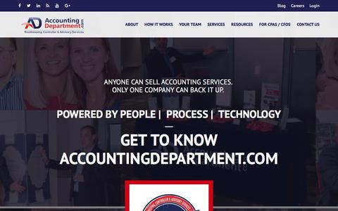 Screenshot of Home Page accountingdepartment.com - Outsourced Bookkeeping Services, Outsourced Controller Services, Outsourced Accounting Services   AccountingDepartment.com - captured Aug. 18, 2018