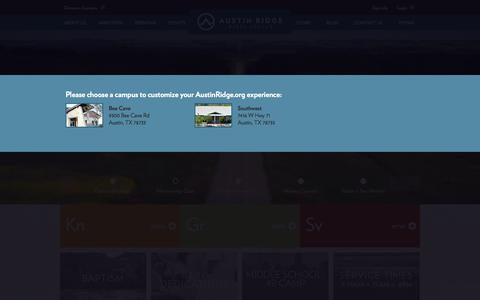 Screenshot of Home Page austinridge.org - Austin Ridge Bible Church - Austin Ridge Bible Church - captured Oct. 4, 2014