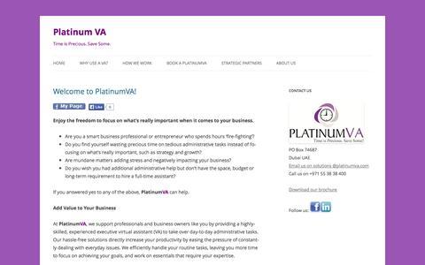 Screenshot of Home Page platinumva.com - Platinum VA - captured Sept. 30, 2014