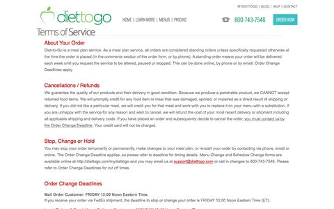 Diettogo® Terms of Service