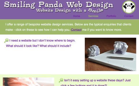 Screenshot of Services Page smilingpandaweb.com - Smiling Panda Web Design - Website Design Services - captured Feb. 15, 2016