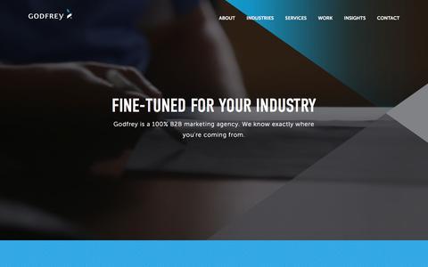 Screenshot of Home Page godfrey.com - B2B Marketing Agency | Digital Marketing & Advertising | Godfrey - captured July 4, 2018
