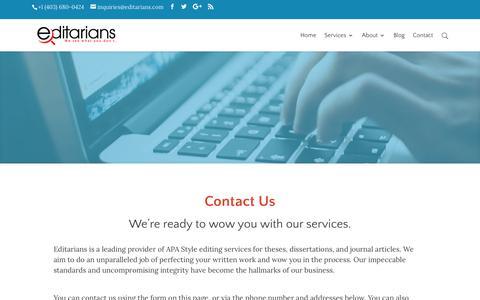 Screenshot of Contact Page editarians.com - Contact | Editarians - captured July 16, 2018