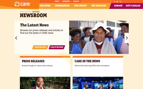 Screenshot of Press Page care.org - Newsroom | CARE - captured Aug. 6, 2018