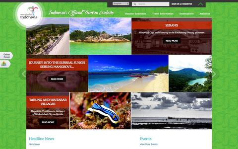 Screenshot of Home Page indonesia.travel - Wonderful Indonesia - Official Indonesia Tourism and Travel Information - captured Jan. 27, 2015
