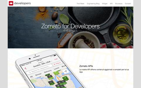 Screenshot of Developers Page zomato.com - Zomato Developers - captured May 10, 2016