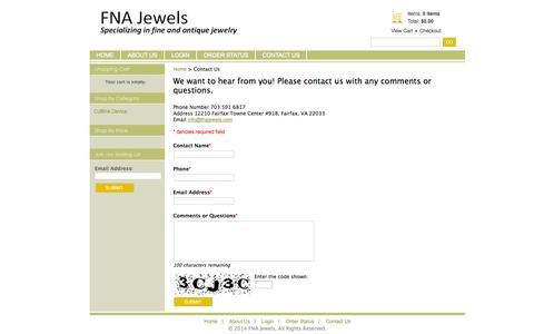 Screenshot of Contact Page fnajewels.com - FNA Jewels - Contact Us - captured Sept. 30, 2014