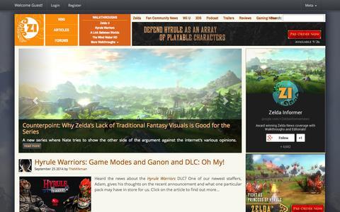 Screenshot of Home Page zeldainformer.com - Zelda Informer - Zelda News, Walkthroughs, and Editorials - captured Sept. 23, 2014