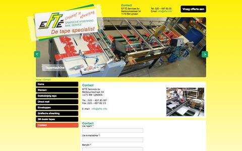 Screenshot of Contact Page efte.info - Contact - EFTE Services b.v. - captured Oct. 1, 2014