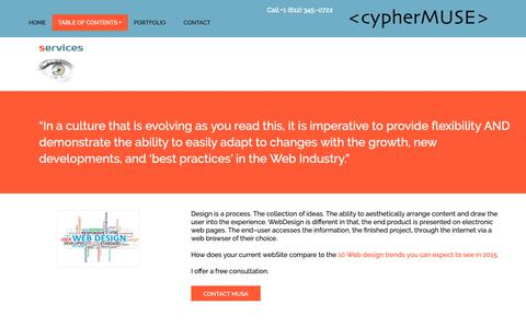 Screenshot of Services Page cyphermuse.com - cypherMuse φ Services - captured Oct. 21, 2018