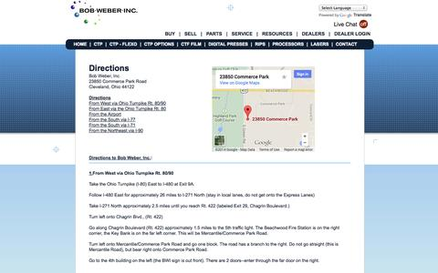 Screenshot of Maps & Directions Page bob-weber.com - Computer to Plate Contact Information | Bob Weber Inc. - captured Oct. 5, 2014