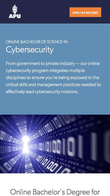 Screenshot of Landing Page  apus.edu - Online Bachelor of Science in Cybersecurity | American Public University