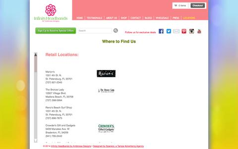 Screenshot of Locations Page infinityheadbands.com - Where to Find Us - captured Oct. 6, 2014