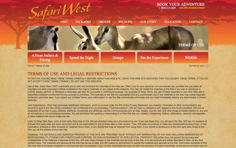 Screenshot of Terms Page safariwest.com - Terms of Use | Safari WestSafari West - captured Sept. 19, 2014