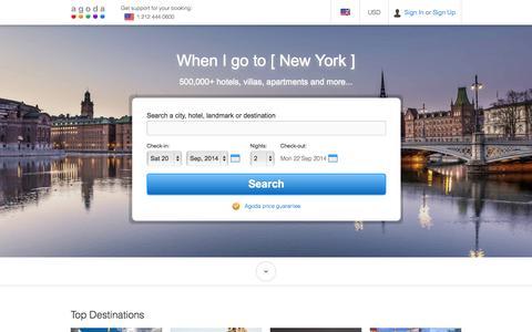 Screenshot of Home Page agoda.com - Agoda.com: Smarter Hotel Booking - captured Sept. 19, 2014