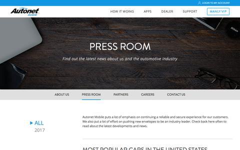 Screenshot of Press Page autonetmobile.com - Press Listings Archive | Autonet Mobile, Inc. - captured Nov. 25, 2017