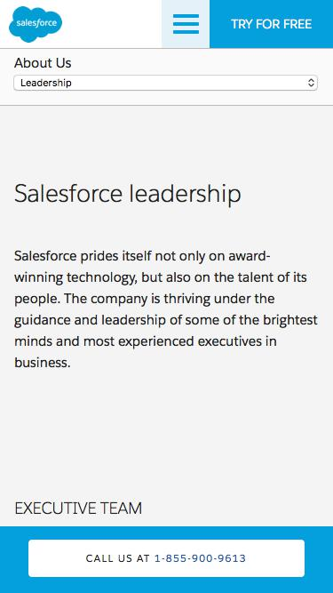 Screenshot of Team Page  salesforce.com - Leadership - Salesforce.com