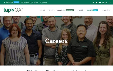 Screenshot of Jobs Page tapqa.com - Software QA Jobs & Careers, MN | tapQA - captured Oct. 2, 2018