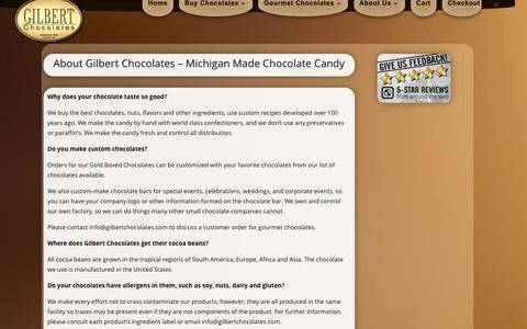 Screenshot of FAQ Page gilbertchocolates.com - FAQ - Gilbert Chocolates - captured July 13, 2016