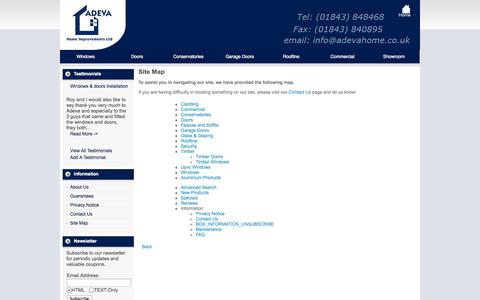 Screenshot of Products Page Site Map Page adevahome.co.uk - Site Map : ADEVA Home Improvments, Double Glazing, Kent, Windows, Doors, Conservatories, Bi Folding Doors, Garage Doors - captured Oct. 23, 2014
