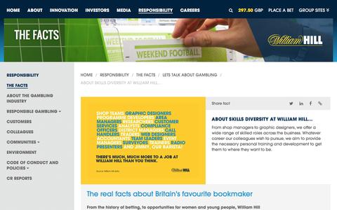 Screenshot of williamhillplc.com - William Hill PLC: About skills diversity at William Hill...                 - Lets talk about gambling                 - The Facts                 - Responsibility - captured Oct. 22, 2016