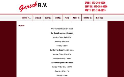 Screenshot of Hours Page garickrv.com - Hours - New Jersey RV Sales | Garick RV - captured Sept. 26, 2014