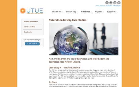 Screenshot of Case Studies Page utue.org - Case Studies | Natural Leadership | UTUE - captured Oct. 1, 2016