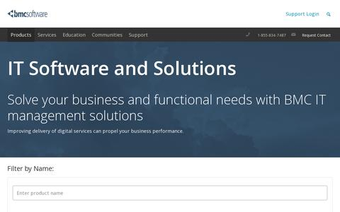Screenshot of Products Page bmc.com - IT Software and Solutions - BMC Software - captured July 18, 2014