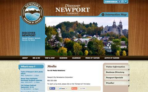 Screenshot of Press Page discovernewportvt.com - Newport Vermont Media Contact | Discover Newport - captured Oct. 26, 2014