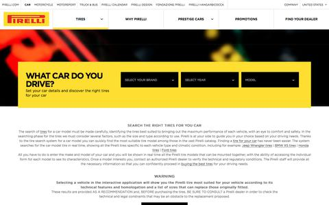 Screenshot of pirelli.com - Find the perfect tires for your car, SUV, pickup | Pirelli - captured June 5, 2017