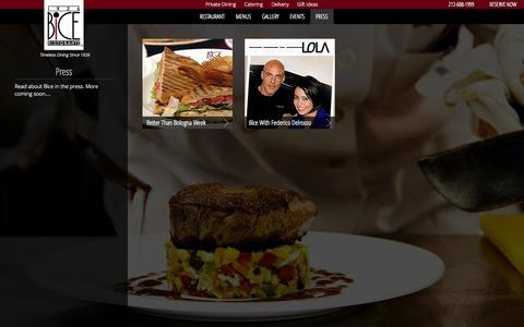 Screenshot of Press Page bicenewyork.com - Press - Bice Restaurant - New York City - captured Sept. 30, 2014