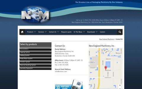 Screenshot of Contact Page neminc.com - New England Machinery :: Contact Us - captured Feb. 14, 2016