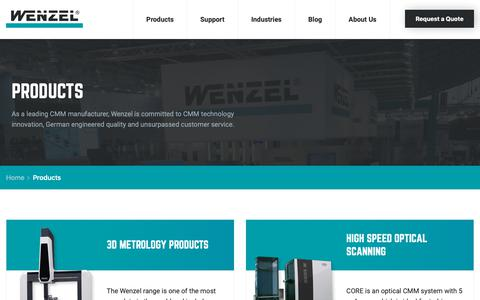 Screenshot of Products Page wenzelamerica.com - CMM Products | Coordinate Measuring Machines | Wenzel America - captured Oct. 20, 2018