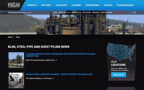 Screenshot of Blog jdfields.com - Blog - Steel Pipe and Sheet Piling news JD Fields | JDFields & Company, Inc. - captured Jan. 22, 2016