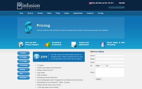 Screenshot of Pricing Page infusioncreatives.com - infusioncreatives - pricing - captured Sept. 30, 2014