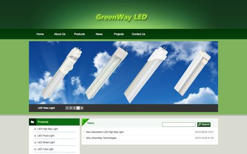 Screenshot of Press Page greenwayled.com - News--LED High Bay/Flood/Street/Tube/Panel Light-Your Green Way to LED Lighting Solutions - captured Oct. 3, 2014